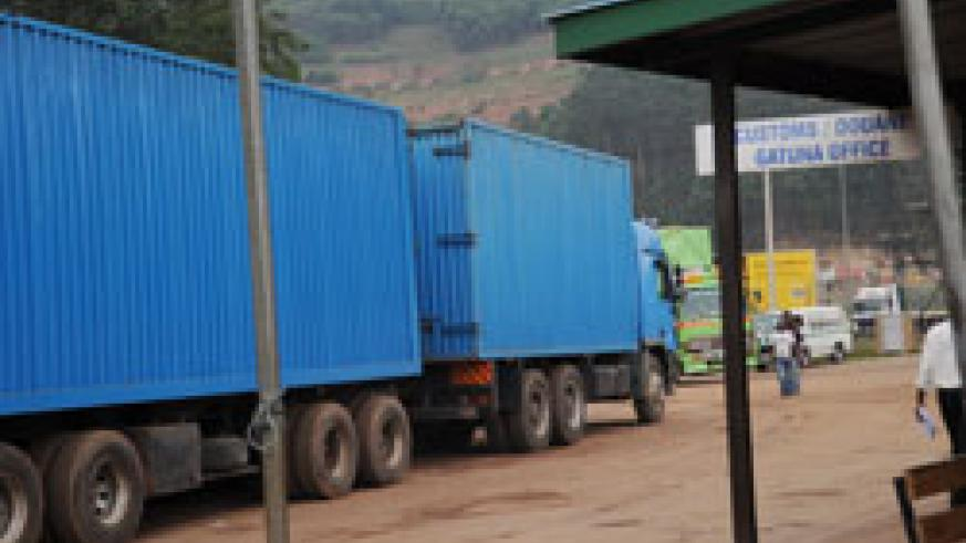 A transit goods truck at the Gatuna border post. The New Times / File.