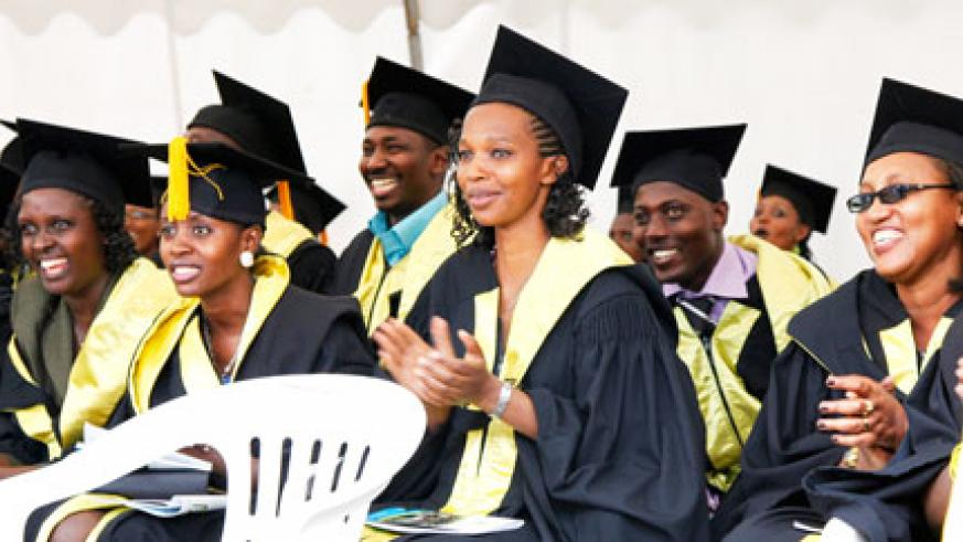Happy graduates  at KIM's maiden graduation ceremony. The New Times / Timothy Kisambira
