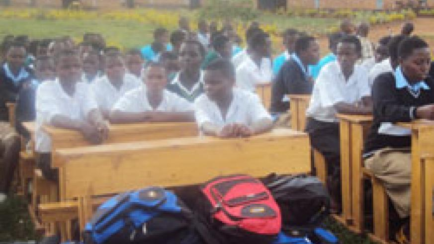 Kayonza College students after receiving scholastic materials. The New Times / S. Rwembeho.