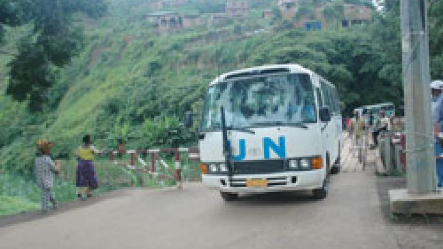 A UNHCR bus ferrying returnees crosses the border from D.R Congo. More 100 returned home from the neighbouring country last week. The New Times /File.