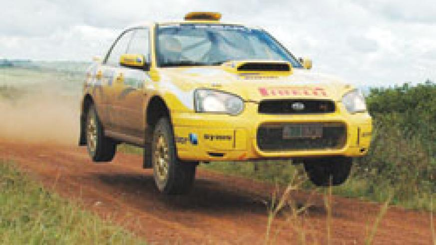 Rudy Cantanhede flies his Subaru during the 2007 Mountain Gorilla Rally. The driver is chasing for his third win. The New Times / File Photo.