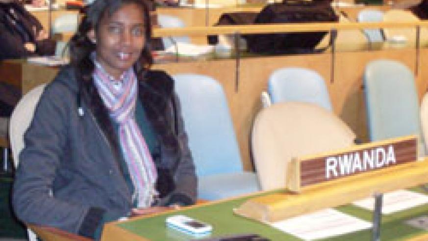 Karine Rusaro one of the Rwandan youth delegates who will attend at the United Nations General Assembly Youth Delegates Progam in New York . The New Times /Courtesy