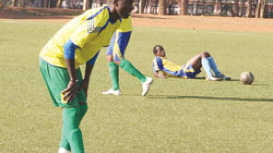 Olivier Karekezi stretching during one of Amavubi's training sessions in the past. The New Times/File
