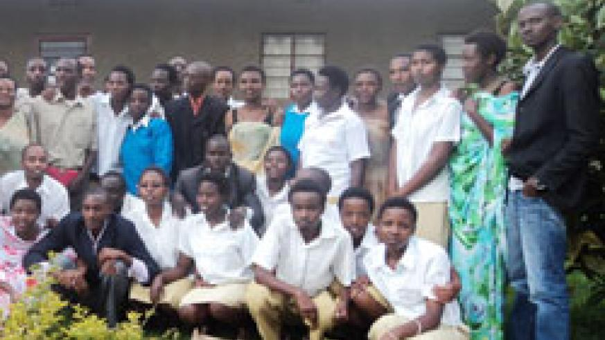 Students and staff of St Wencelsas College after the launch of the association of students genocide survivors. The New Times /A Ngarambe.