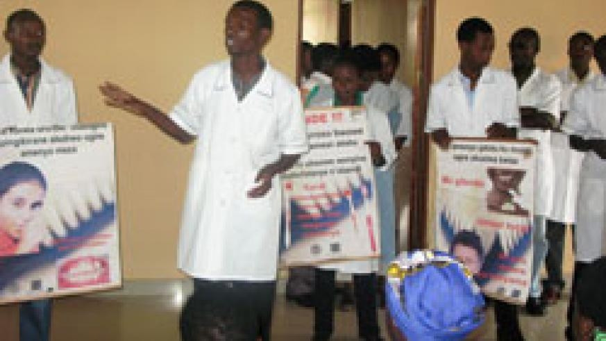 Kigali Health Institute students conduct a health education session in Bugesera District. The New Times /Courtesy
