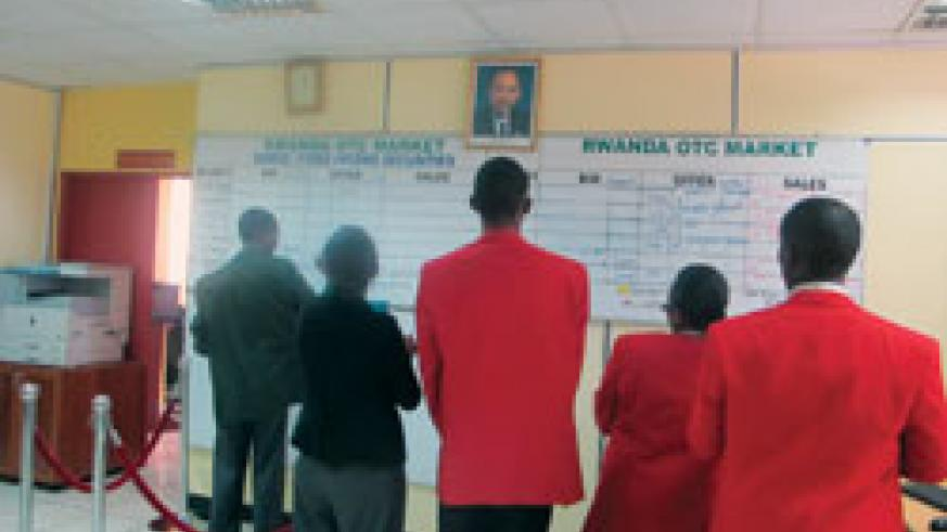 Trading at the Rwanda Stock Exchange. The New Times / Saul Butera.