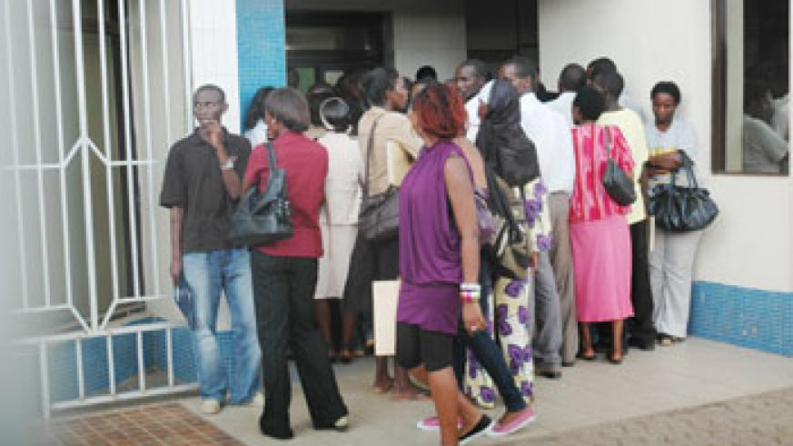 Jobseekers at an organisation that was recently hiring. The Newtimes /File.