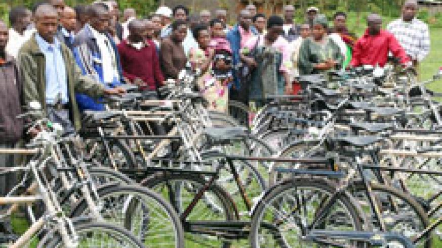 Community health supervisors receive bicycles in Burera District. The New Times / B Mukombozi