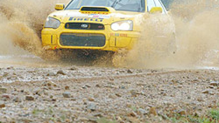 Giancarlo powers his Subaru Impreza during a past rally event. He finished second in the KCB Mt. Gorilla Rally.