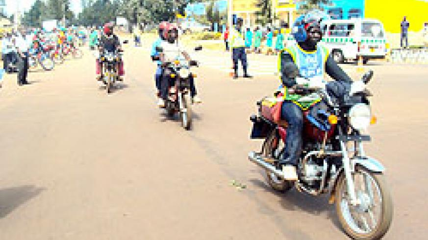 Motorcycle operators in Kayonza town. The New Times \Steven Rwembeho.