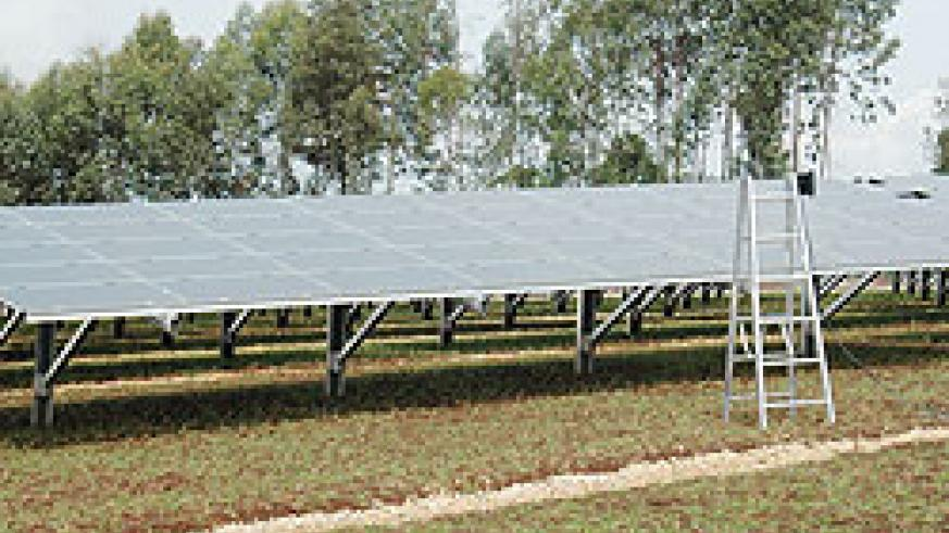 A solar panel in Kigali City. The first school powered by solar energy  will be unveiled today. The New Times\ File photo