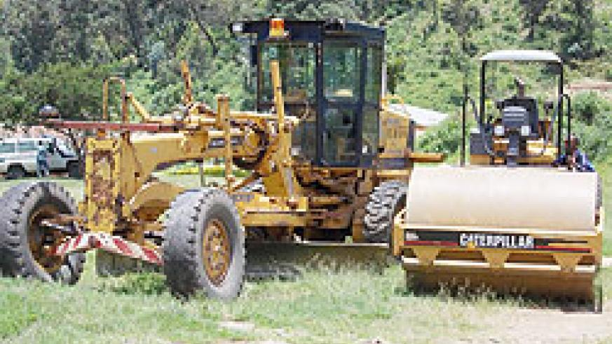 Some of the road constuction equipment parked in Karongi town.  The New Times\ Sam Nkurunziza