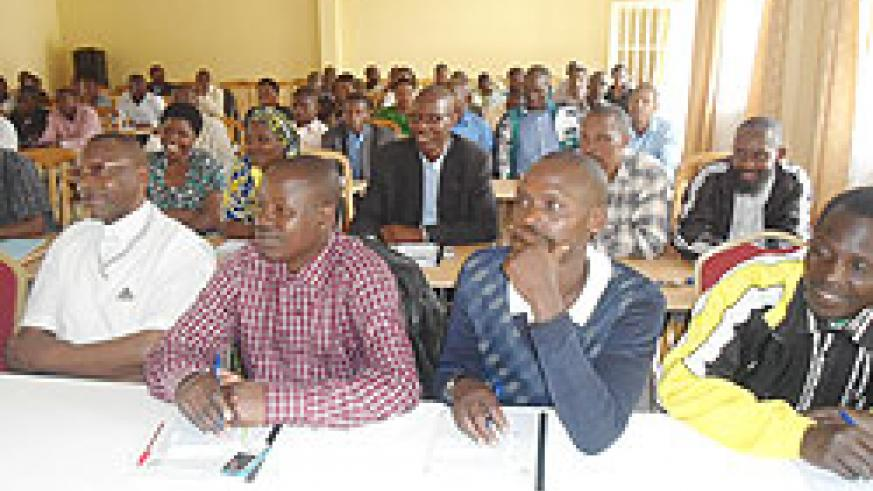 Teachers during the training in civic education.They want civic education to be included in the schools' curriculum.   The New Times\ B. Mukombozi