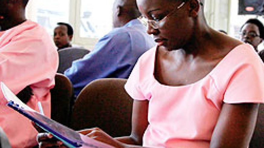 Victoire Ingabire in court;  She wants pieces of evidence left out during the trial. The New Times\ File phot