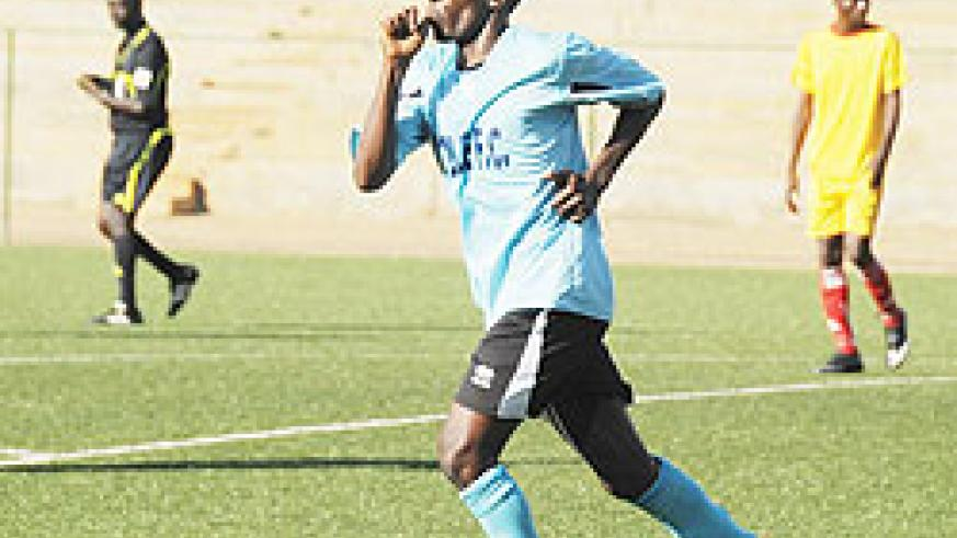 Meddie Kagere celebrates after scoring in one of least season's league games. The striker has been rewarded with a call-up to the national team. File Photo.