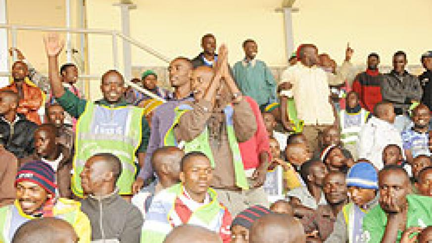 Taxi Moto operators in a morale boosting session during the meeting at Nyamirambo Regional Stadium. New guidelines have been enforced to reduce accidents.  The New Times Courtesy