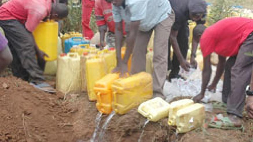 Illicit brew being distroyed by authorities in the past. Police has called for a collective effort to fight against drug abuse and trafficking. The New Times / File.