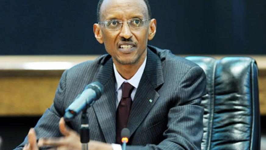 President Kagame speaks at the news conference at Village Urugwiro, yesterday. The New Times / Village Urugwiro.