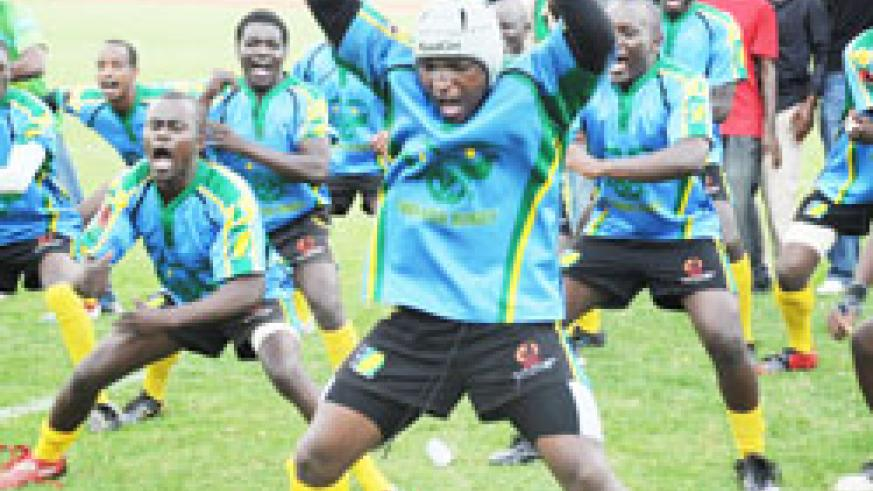 Captain Benjamin Makombe leading the team in a local Haka version last year. He will be at the forefront of the action. The New Times/File.