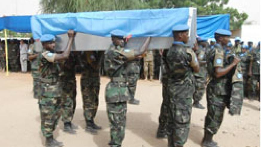 The fallen peacekeepers were honoured in Sudan. The New Times / Courtesy.
