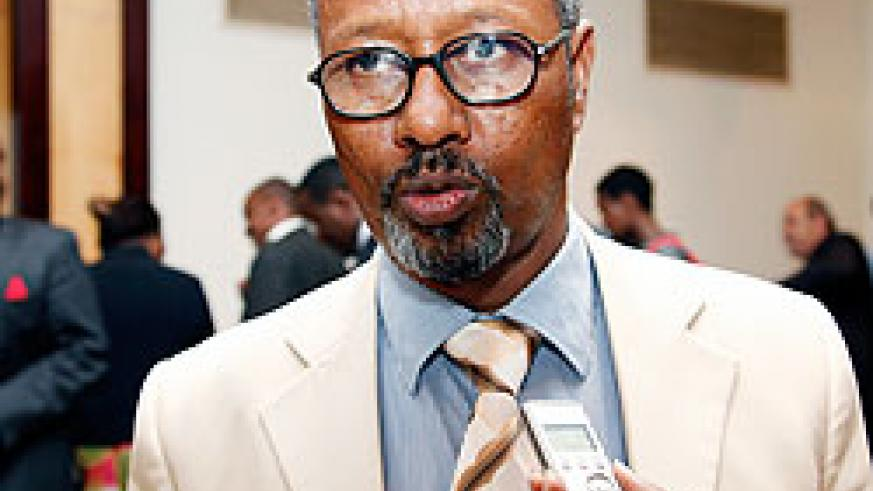 Somalis minister Hussein Ahmed Aideed in an interview on the abolition of the death penalty yesterday at Serena. The New Times Timothy Kisambira