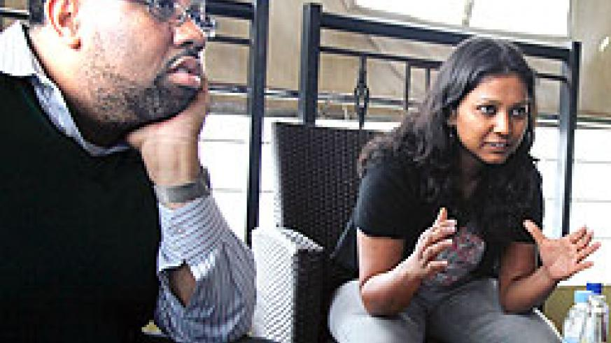 (L-R) Sean O.Ferguson together with Pallavi Hisaria during the  interview yesterday. The New Times Timothy Kisambira
