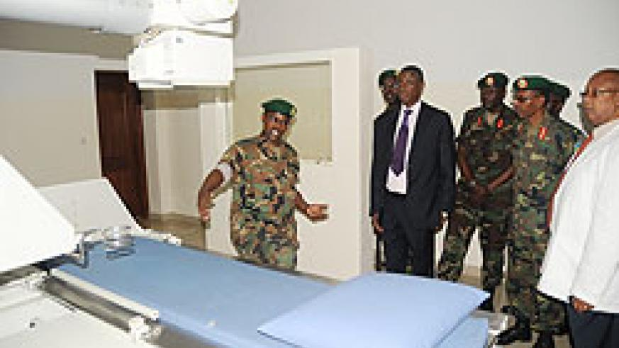 Defence Minister James Kabarebe on a recent tour of the Kanombe Military Hospital. The hospital is open to the public.
