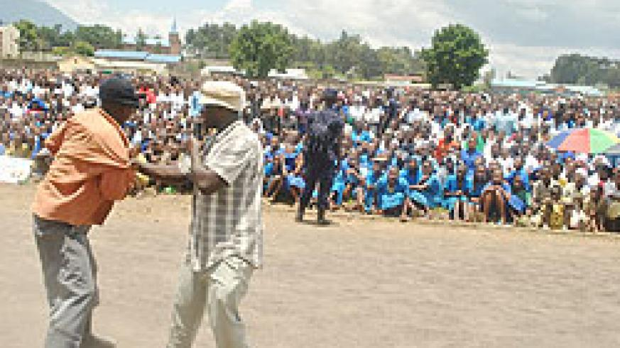 Men perform a skit during the anti-GBV week. The escalating violence against men is caused by misconception of gender-based violence. The New Times
