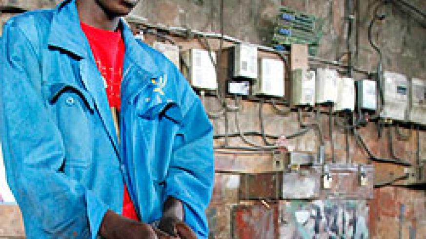 A young man in a wielding workshop. Youth in Kimironko have been urged to be innovative in order to contribute to the country's  development.