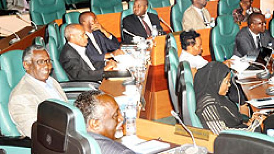 The new senators during a session to elect committees. They will prioritise research. The New Times/ File  photo