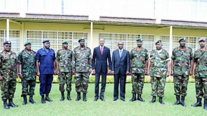 President Kagame with the top officers of the EAC Command Post Exercise; code named Ushirikiano Imara yesterday in Musanze. The New Times / Village Urugwiro.