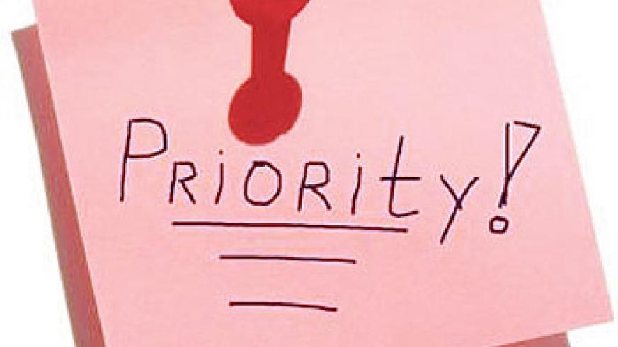 Setting priorities requires organisation.