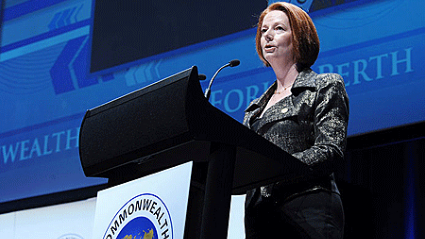 Australian Prime Minister, Julia Gillard, at the opening of Commonwealth Business Forum in Perth yesterday. The New Times/Urugwiro Village.