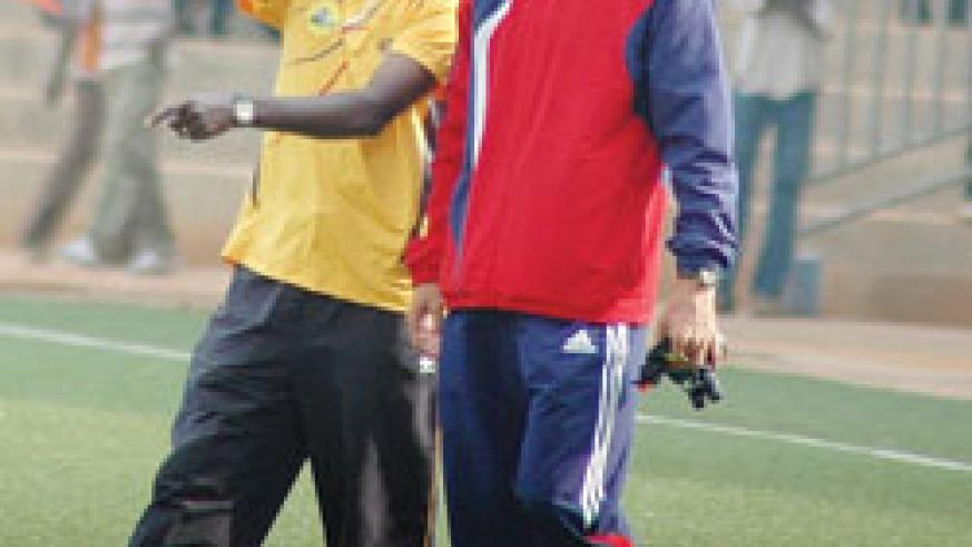 BACK IN THE DAYS: Milutin Micho Sredojevic listens to his assistant during a friendly match between APR and Ethiopia's St. George. The New Times/File.