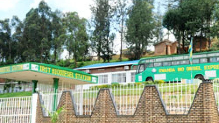 A biodiesel filling station and biodiesel bus. Rwanda has been commended for spearheading a green economy. The New Times / File.