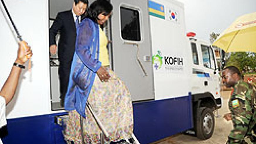 Health Minister Dr. Agnes Binagwaho with Korean Vice Foreign Minister Min Dong Seok after touring the Mobile Clinics on Wednesday. The New Times/ John Mbanda.