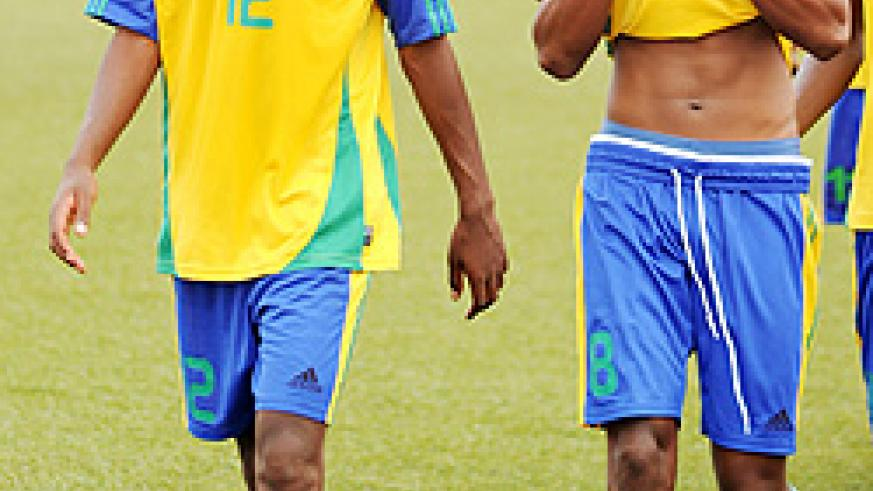 Emery Bayisenge (R) missed Amavubi's last game because of an ankle injury. The New Times / File