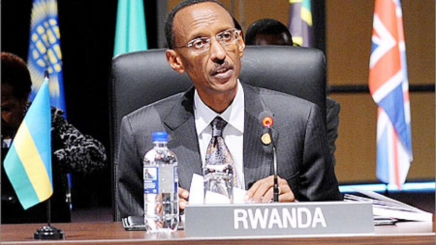 President Kagame addressing the Commonwealth Heads of Government Meeting  in Perth yesterday. The New Times/Urugwiro Village.