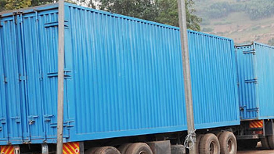 A Transit goods truck ready to cross the border at Gatuna. The New Times /File photo