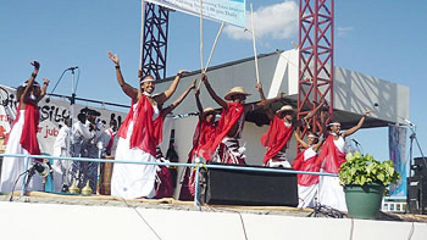 Inyamibwa dancers perform at the Kenyatta University Cultural Week. New Times /Courtesy.