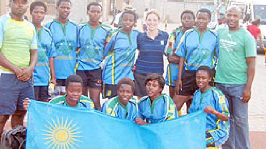 Blackbacks pose for a Group Photo during the CAR women rugby tournament.  The New Times / J.B Itanzi