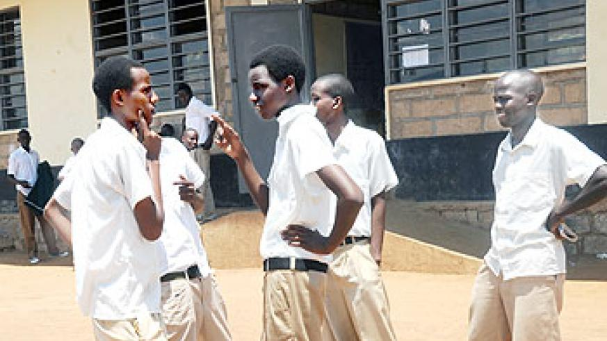 Students in a discussion after the first examination paper at Groupe Scolaire de Giporoso yesterday.The New Times / J. Mbanda