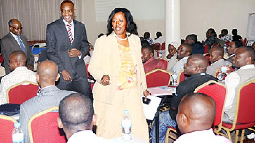 Health Minister Dr. Agnes Binagwaho talks to doctors after opening a meeting of Rwanda Medical Council on November 3, 2011. The New Times / John Mbanda.