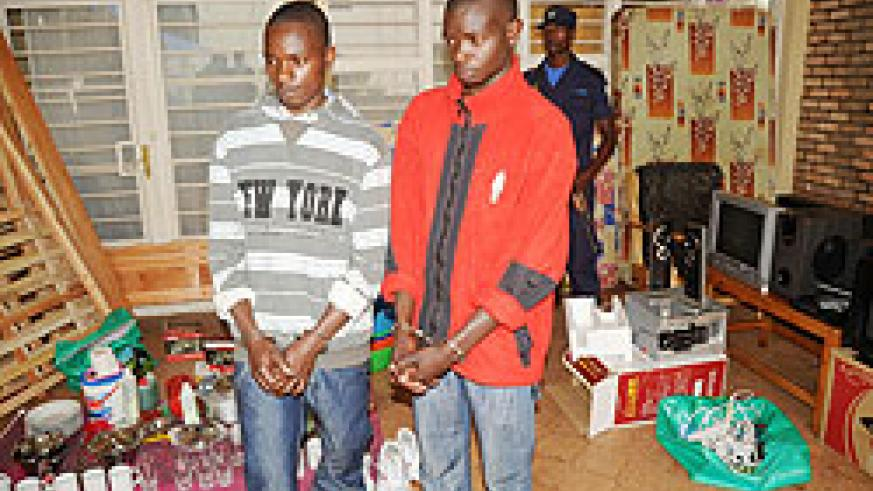 The suspects at Remera Police station yesterday. The New Times /J. Mbanda.