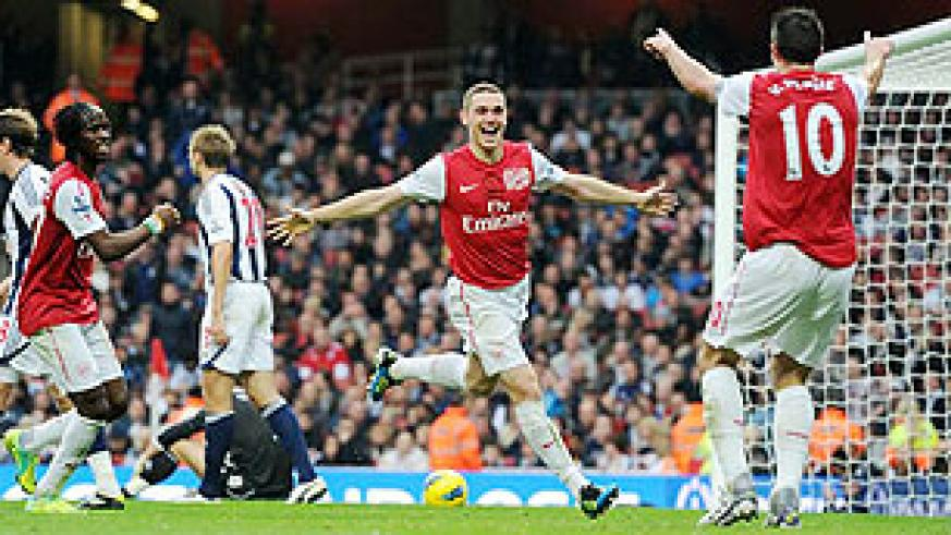 Arsenal's players celebrate a goal against West Brom last Saturday Net Photo.