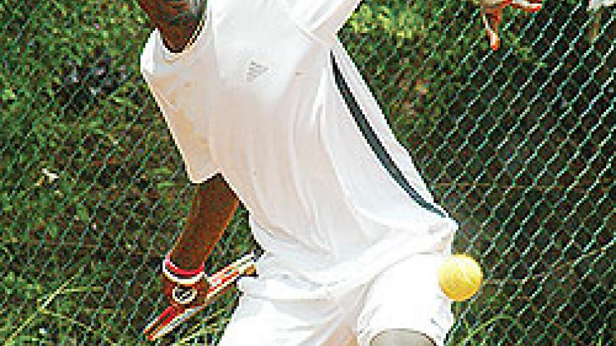 Habiyambere  in action during last year's East Africa Money Circuit. The Player faces a daunting task in the first round of the ITF Men's Futures this morning. The New Times /  File photo