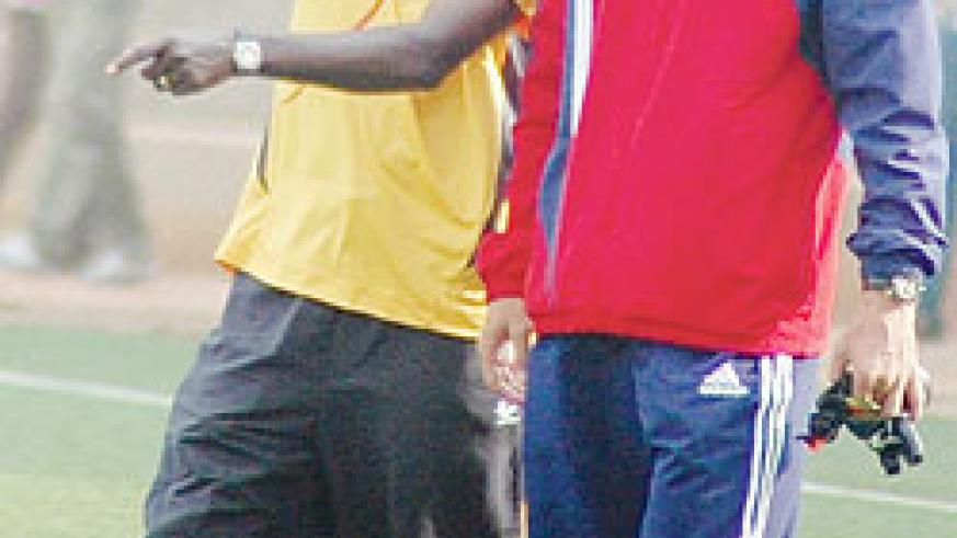 Milutin Micho Sredojevic (R) is thought to be earning close to Rwf10m a month. The New Times / File photo
