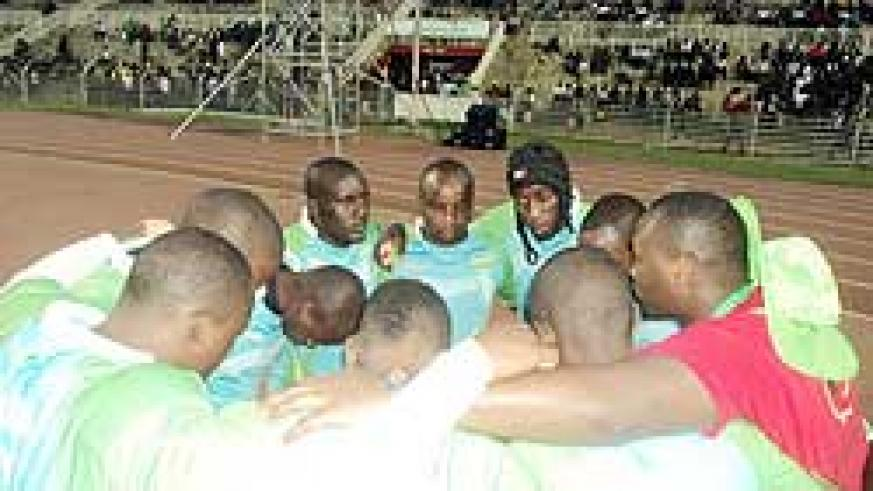 The rugby Silverbacks cuddle up before heading to the pitch. The New Times/Courtesy.