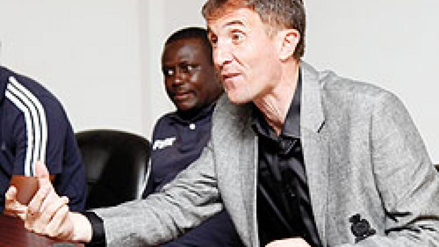Micho addressing the media after Tuesday's win. The New Times/T. Kisambira.