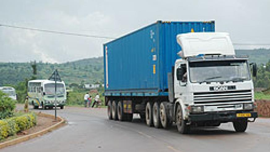 A Transit goods truck at Rugende heads for Rusumo from Kigali. The New Times / File.